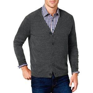 Turnbury Extra Fine Merino Wool Gray Cardigan XL